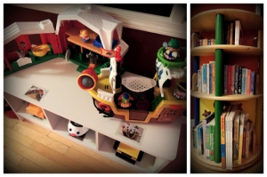 A low bench with storage provides additional open toy storage and a play table all-in-one. | A turning bookshelf is a great space-saver.