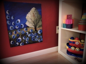 Adding art at kids' height gives them something beautiful to look at.