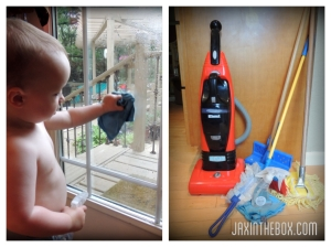Providing young siblings pint-sized cleaning tools helps them feel a part of the action.