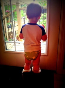 Jax in his green stars diaper ... cutie patootie.