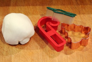 This small dough ball will yield about a dozen ornaments.