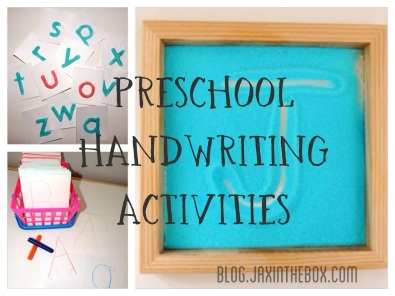 Preschool handwriting activities @ blog.jaxinthebox.com with extension activities.