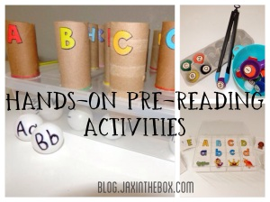 Hands on early reading activities @ blog.jaxinthebox.com