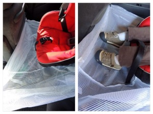Travel / vacation tip: Use a laundry bag to keep small toys off the floor during your road trip @ jaxinthebox.com