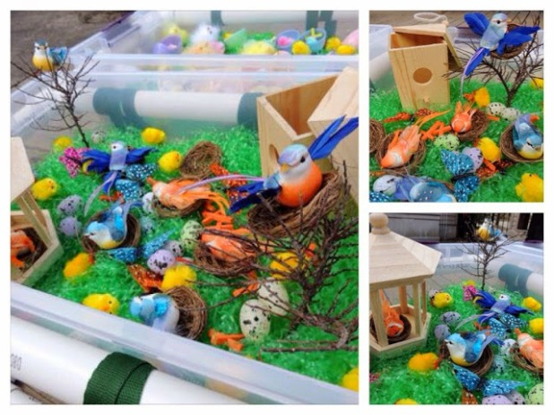 Easter/Spring sensory bins in a DIY sand/water table @ jaxinthebox.com